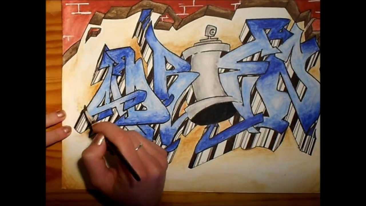 Speed Drawing Graffiti Name Art Adrien Youtube