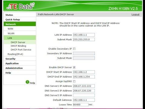 طريقة عمل dns منع المواقع الاباحية على روتر te data موديل ZXHN H108N V2 5