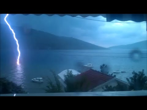 Lightning hits the sea - HD - Bay of Kotor, Montenegro