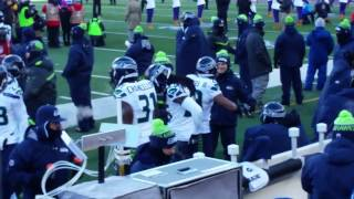 Seahawks bench - Vikings playoff introductions.