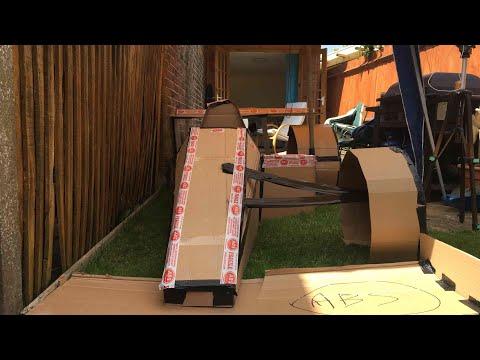 Full size cardboard formula one car