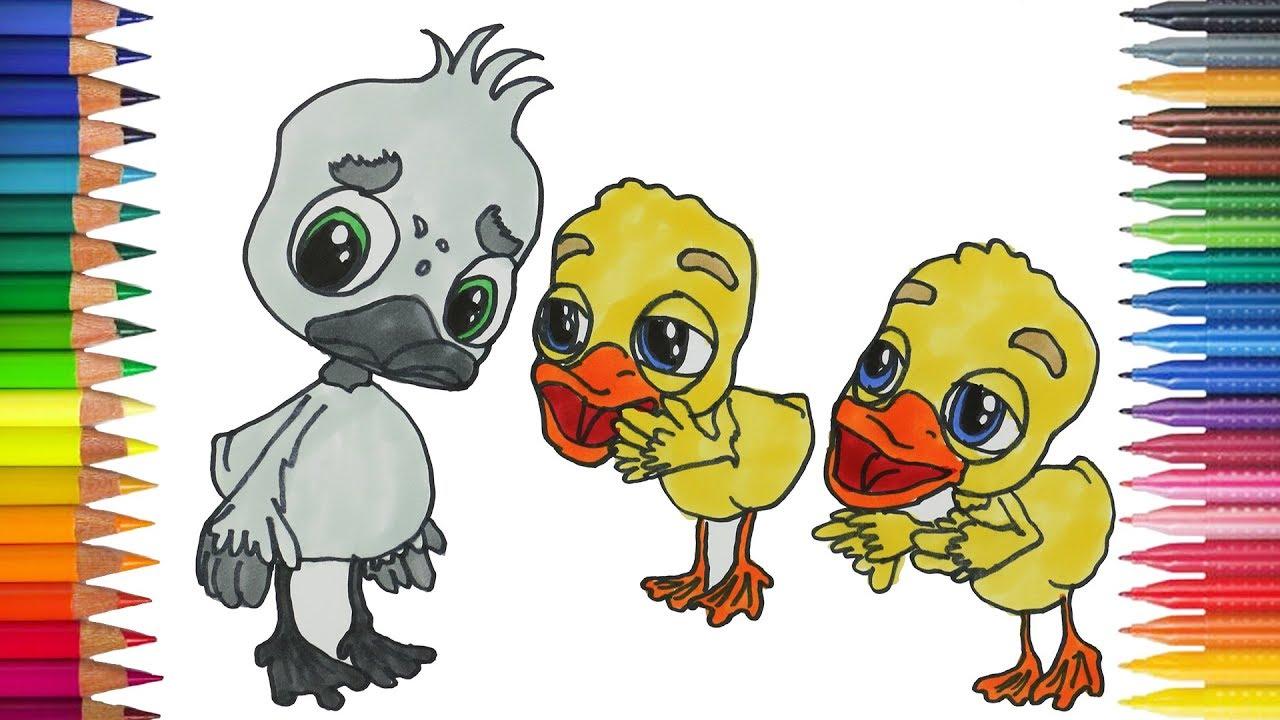 Bebek Buruk Rupa Dengan Itik Lainnya Menggambar Dan Mewarnai