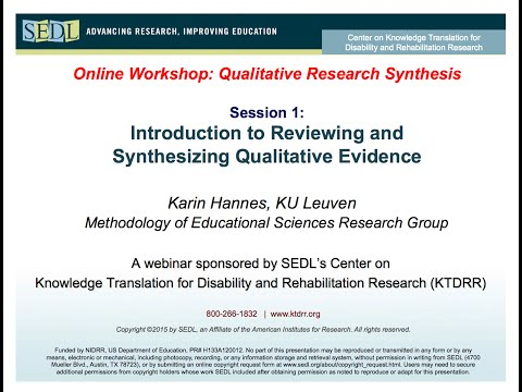 Introduction to reviewing and synthesizing qualitative evidence