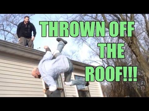 THROWN OFF ROOF! Crazy Backyard Wrestling Match Grim vs MailMan
