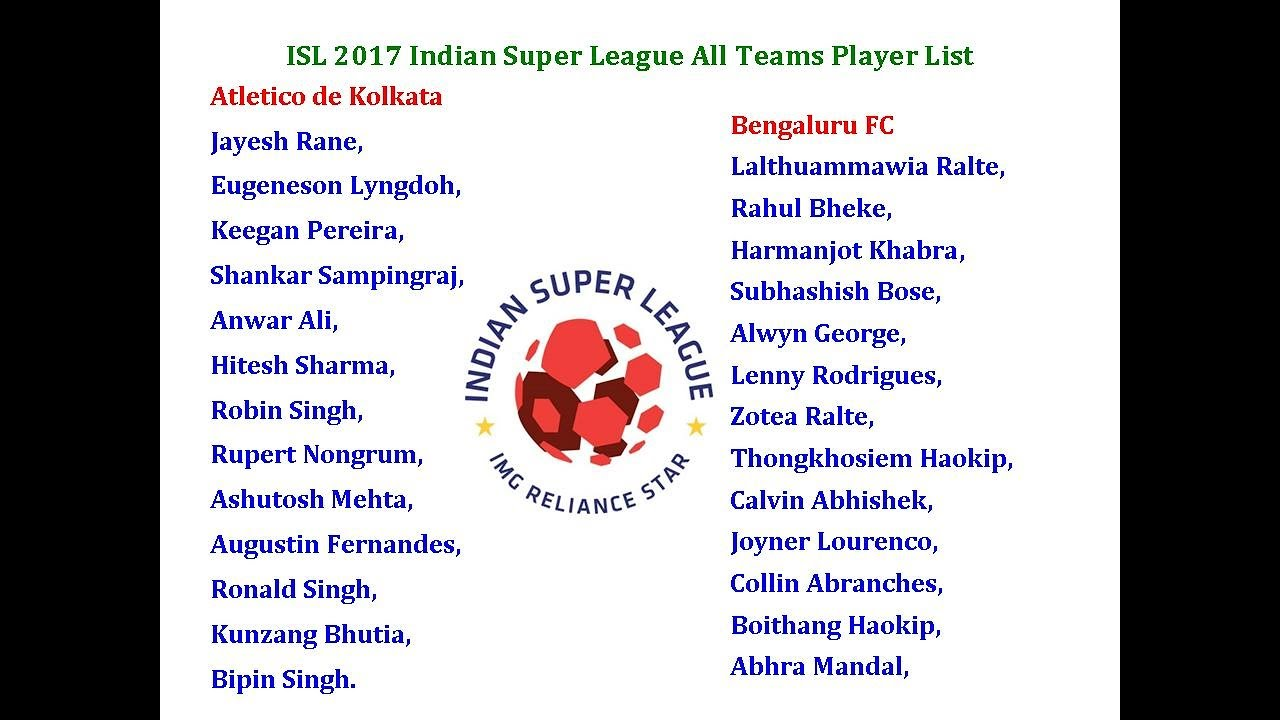 isl 2017 indian super league all teams player list youtube