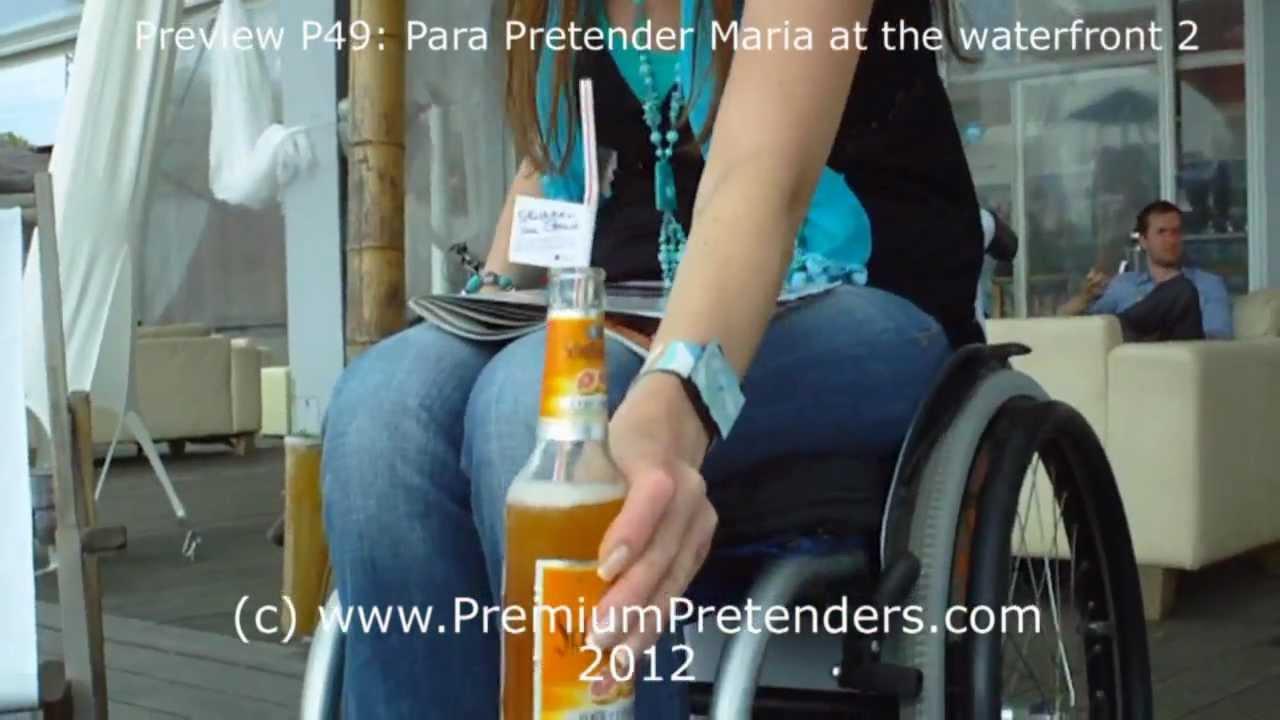 P49: wheelchair pretending with Maria 2 - at the beach