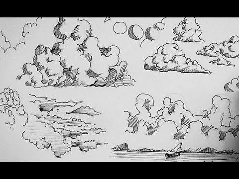 Pen and Ink Drawing Tutorials | How to draw clouds