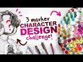 BUILDING a CHARACTER from ONLY 3 COLORS?! | 3 Ohuhu Marker Character Design Challenge