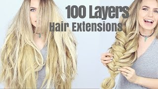 100 Layers of Hair Extensions(Time for a challenge! Here's 100 layers of hair extensions. AKA more hair than anyone should ever wear!! You've seen the polish mountains, the 100 layers of ..., 2016-08-25T05:27:36.000Z)