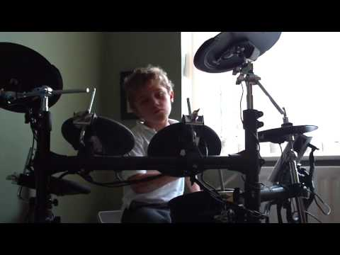 Etienne Burgess-Hunt drumming at home