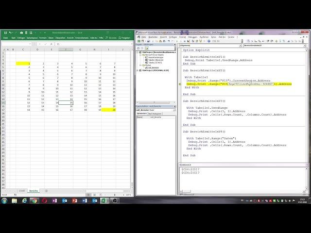 0038. Excel VBA: Bereiche einer Tabelle identifizieren / Usedrange