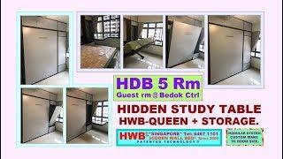 HDB 5 Rm. Hidden Study Table + Wall Bed/hidden bed HWB-Queen + Top Storage.HWB HUB.HDB.BTO.EC