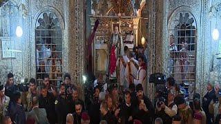فيديو| أول قداس لمسيحي الموصل بعد أكثر من عامين