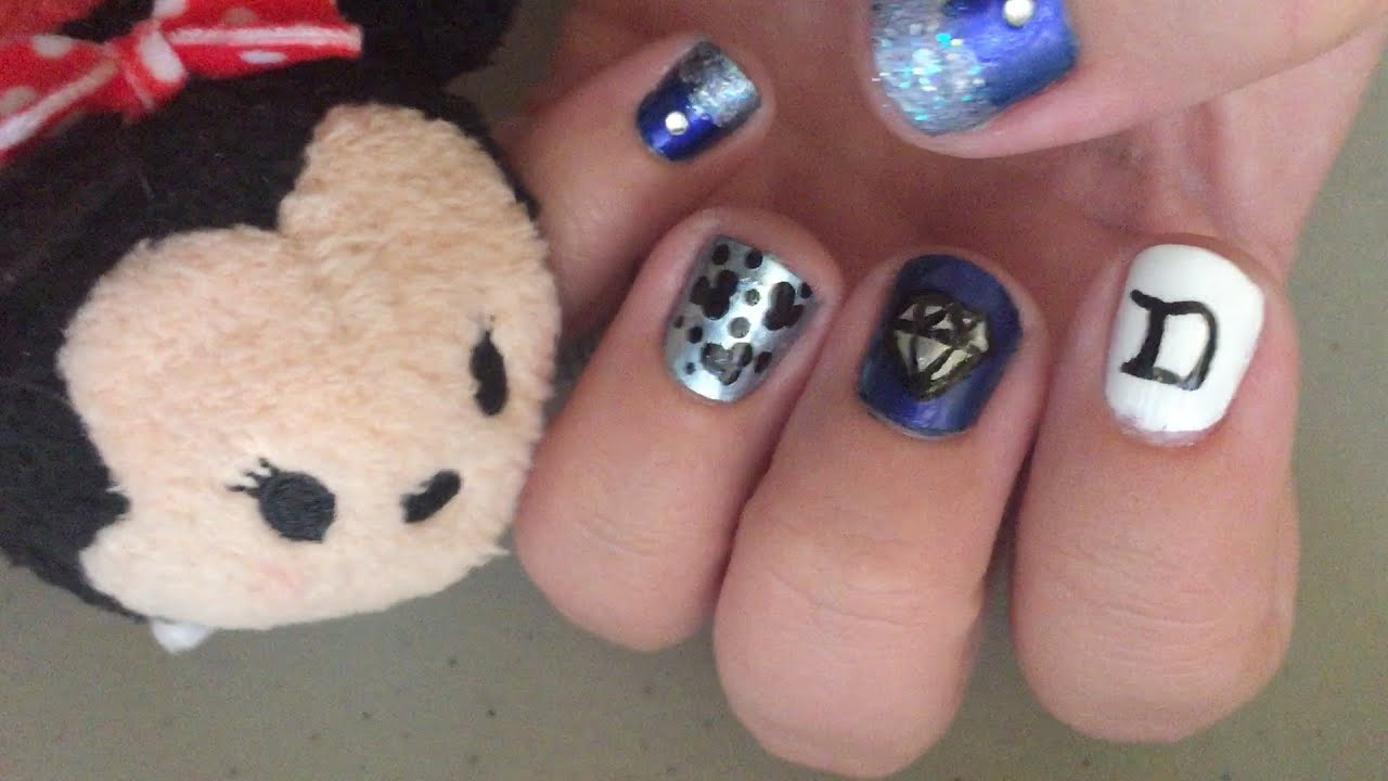 Disneyland Diamond Celebration Nail Art Tutorial Youtube