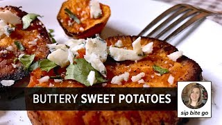 Buttery sweet potatoes oven baked sweet potato recipe with bleu cheese - an easy potato brunch idea