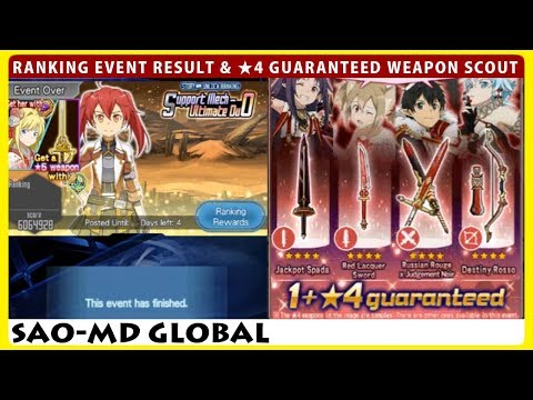 Ranking Event Result, Next Guild Ranking Preview & 4stars Guaranteed Weapon Scout (SAOMD)