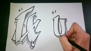 "How to draw Graffiti Letter ""U"" on paper"