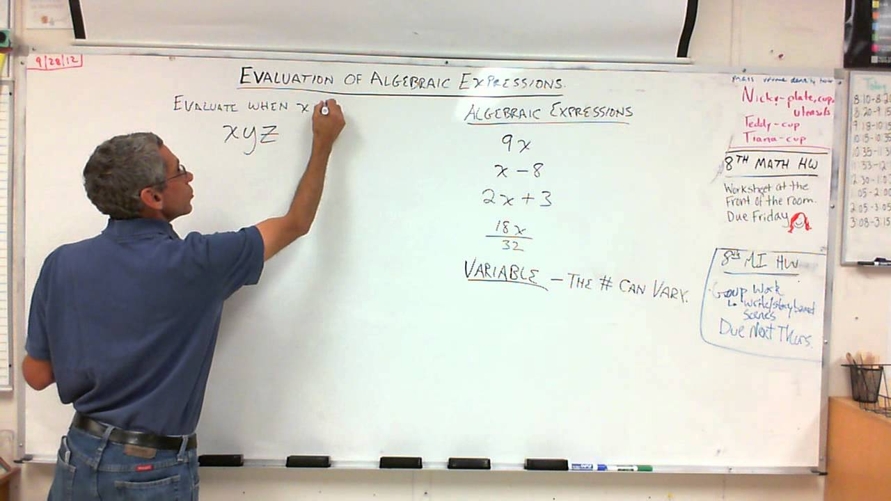 7th Grade - Evaluation of Algebraic Expressions 9/28/12 - YouTube