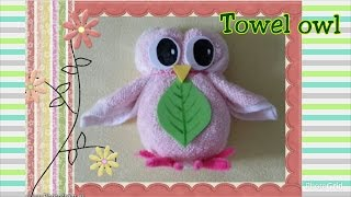 fun towel fold craft tutorial diy washcloth folding owl摺毛巾玩偶教學 毛巾貓頭鷹