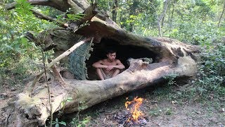 Primitive Technology: House in the trunk I build this stone house u...