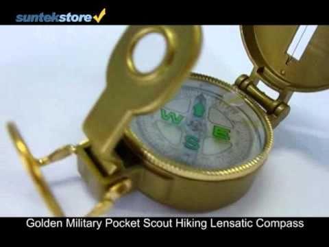 SuntekStore: Golden Military Pocket Scout Hiking Lensatic Compass