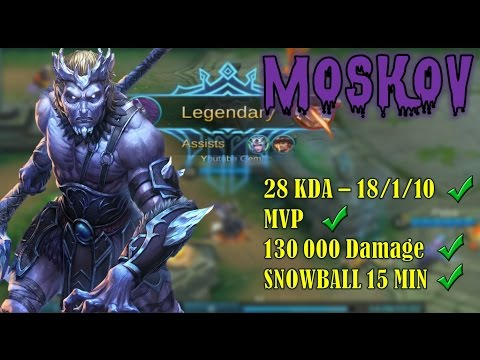 Mobile Legends : MOSKOV INSANE DAMAGE & MVP & 1VS9 - Fast Gameplay #4