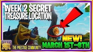 NOUVEAU LIEU DE TRÉSOR SECRET ! Fortnite WEEK 2 TREASURE Challenge SOLVED (Pool, Moulin à vent, Parapluie)