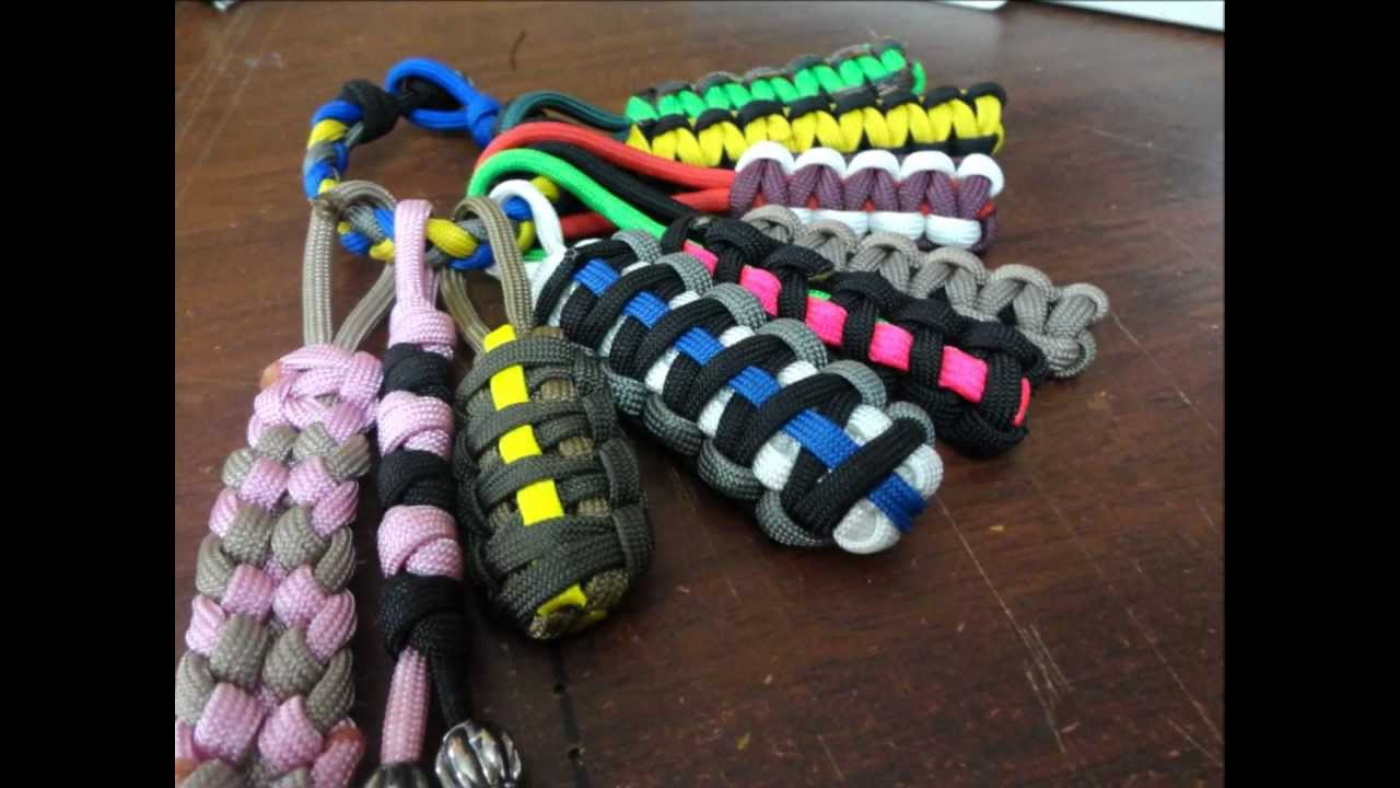 Paracord keychains key fobs zipper pulls youtube for How to make a keychain out of paracord