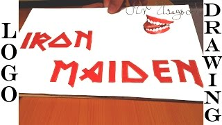 How to Draw IRON MAIDEN Logo EASY, and color for Kids on paper with Pencil | #MrUsegoodART