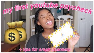 MY FIRST YOUTUBE PAYCHECK   HOW MUCH MONEY DO SMALL YOUTUBERS MAKE ♡