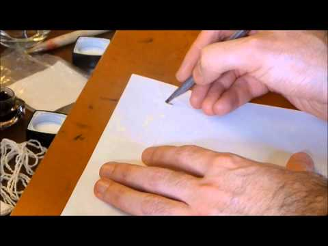 Preparing the reed-pen and ink for Persian calligraphy