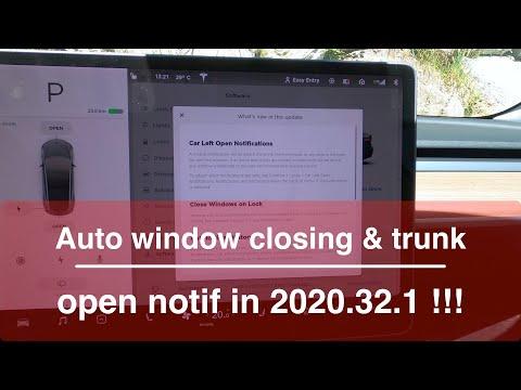 Tesla Update 2020.32.1 : auto window closing & trunk open notifications !
