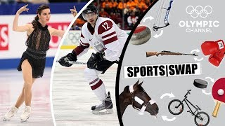 Figure Skating Vs Ice Hockey With Marchei & Vasiljevs | Sports Swap