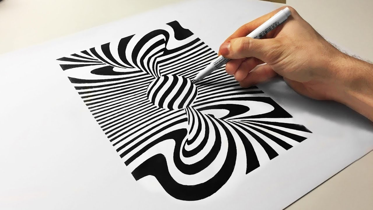 3d cool optical illusion drawing spiral tornado ball how for Eight ball tattoo removal