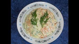 Слоеный салат с ветчиной. Видео рецепт.