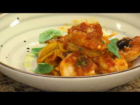 Putting the Finishing Touches on the  Seared Shrimp Puttanesca With Butternut Squash Linguine