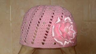 Шапка для девочки-Вязание крючком-детская шапка.Knitted hat tutorial.Летняя шапка крючком