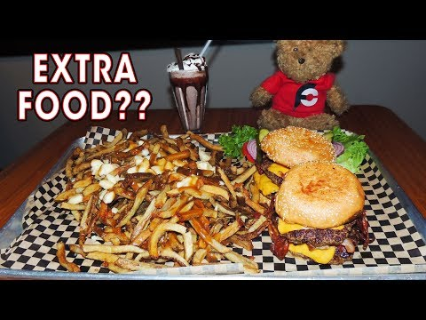 Man vs Food Toronto STACK Burger Challenge w/ Poutine!!