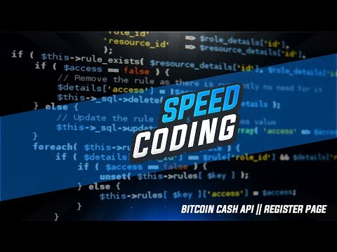 Bitcoin Cash API Speed Code || Register Page