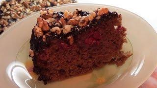 Шоколадно-вишневый тортик в мультиварке.