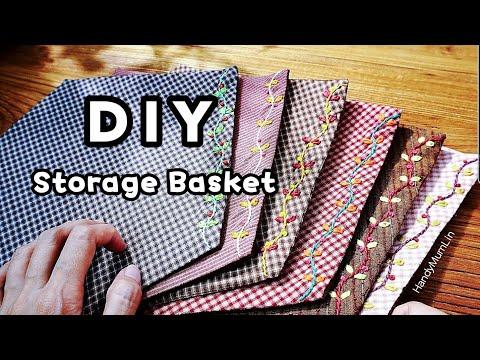 Fabric Basket Idea / Simple embroidery /Hexagon #HandyMumLin