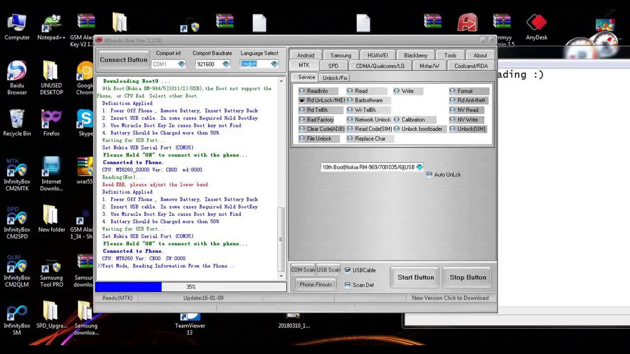 Nokia 216 RM-1187 Unlock Password Read Code Mirackle Box 10000% Working