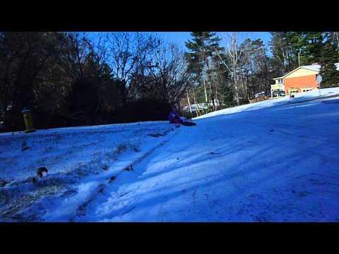 Dog pile on mom sledding