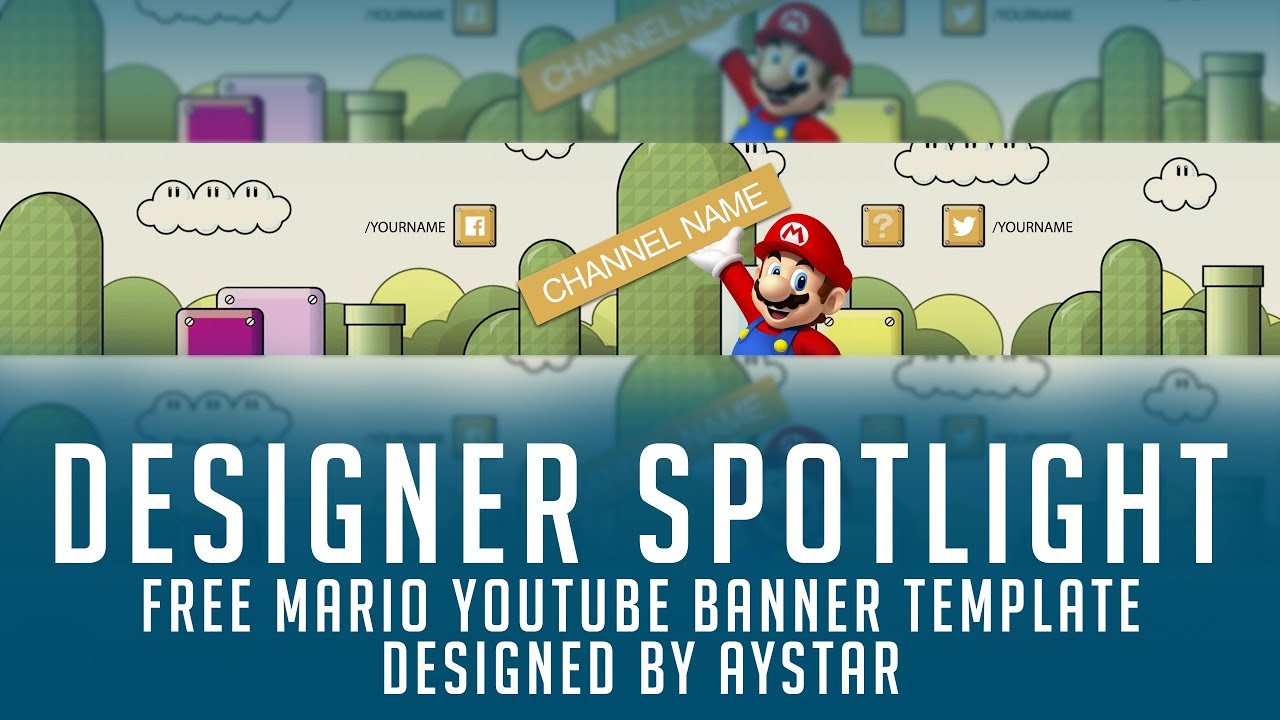 Free Youtube Banner Template Mario Themed 2d Psd Free