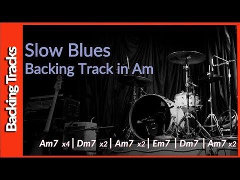 Slow Blues Guitar Backing Track Am 90 BPM