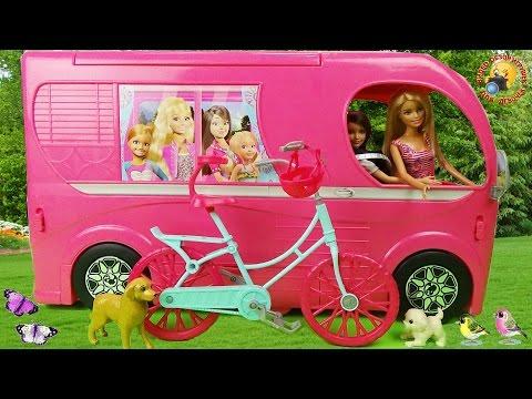 Авто домик для куклы Барби с мебелью. Распаковка игрушек для девочек  Barbie Pop Up Camper 2015