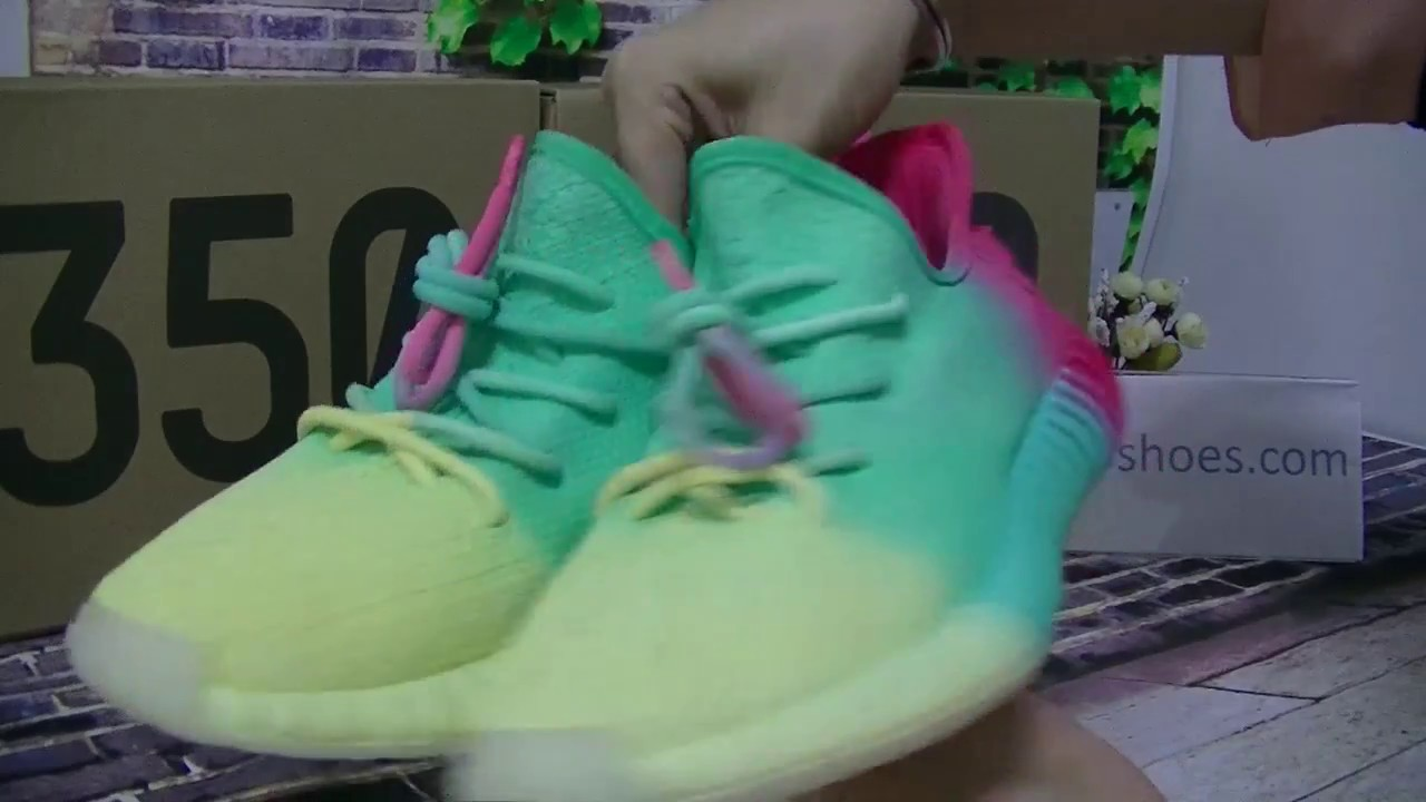 64b086eb3ab86f Addidas Yeezy Boost 350 V2 Rainbow Custom HD Review from aj23shoes ...