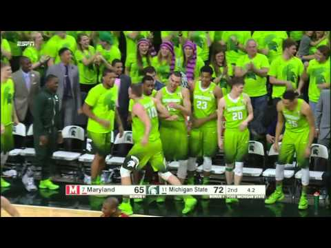 Matt Costello Lifts Up Tom Izzo in Celebration