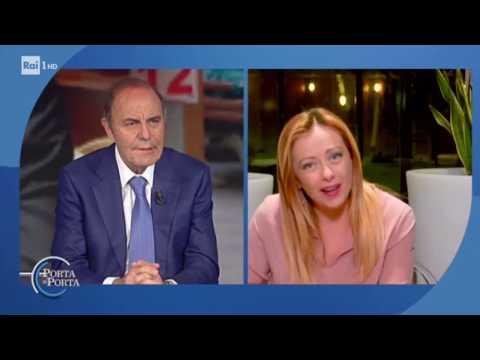 Giorgia Meloni a Porta a porta intervistata da Bruno Vespa. Da non perdere!