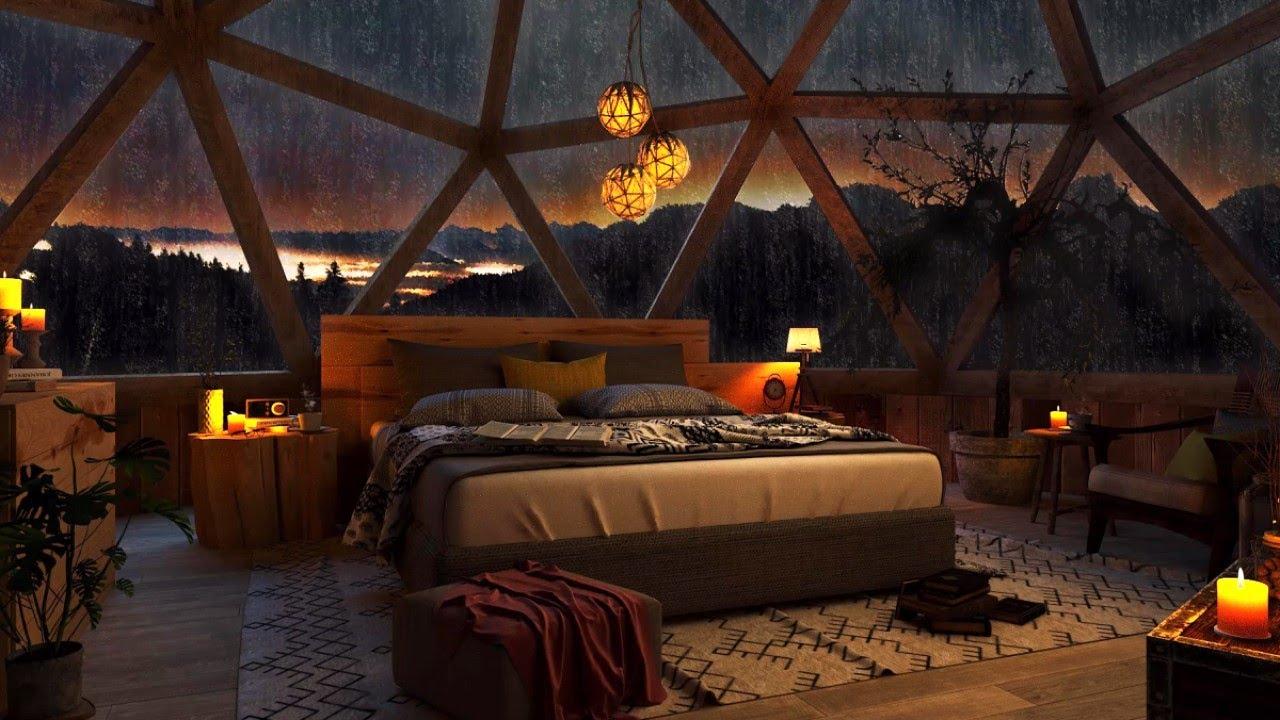 It's Raining on glass bedroom. I'll sleep with heavy rainstorm on window!